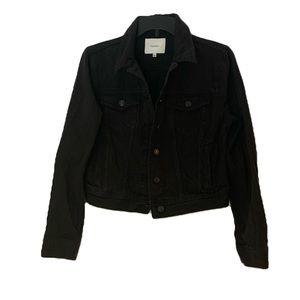 Aritzia Talula Cropped Edo Black Denim Jacket